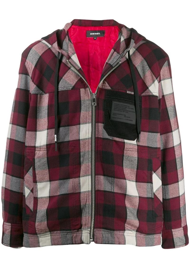 Diesel check zipped hoodie