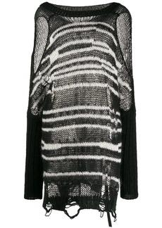 Diesel cold shoulder striped knit jumper