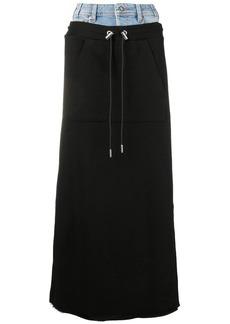 Diesel contrast drawstring skirt