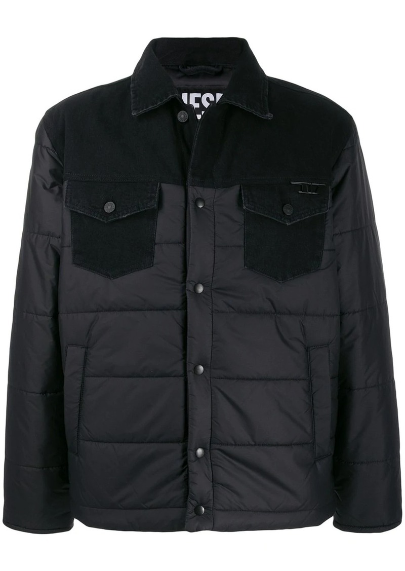 Diesel contrast panel padded jacket
