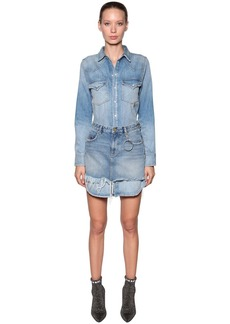 Diesel Cotton Denim Dress W/ Detachable Skirt