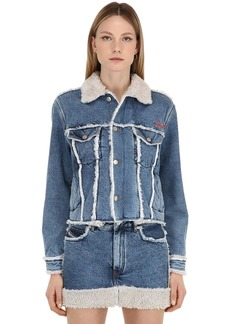 Diesel Cotton Denim Jacket W/ Faux Shearling