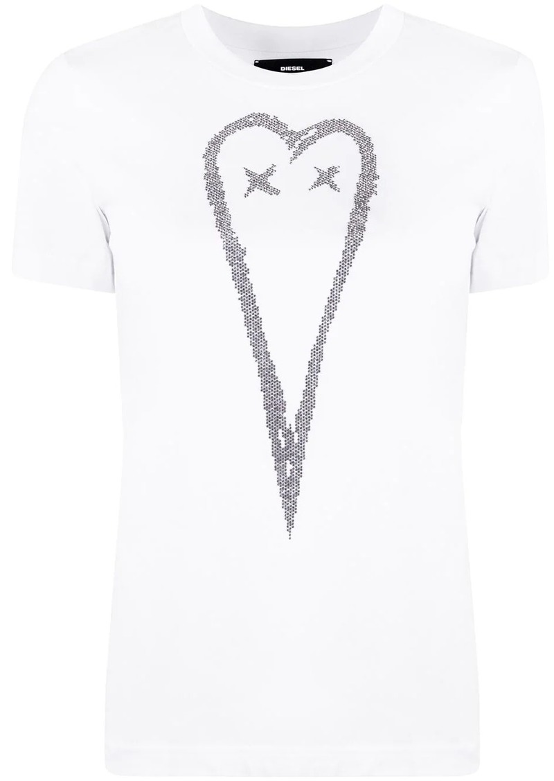 Diesel Cotton T-shirt with studded heart