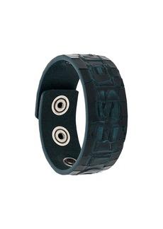 Diesel croc-effect snap button bracelet