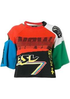 Diesel cropped colour-block T-shirt