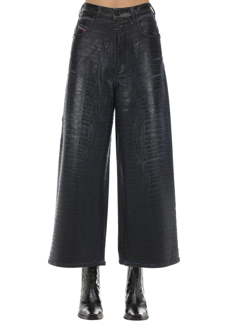 Diesel D-luite Croc Coated Denim Wide Leg Jeans