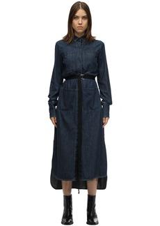 Diesel De Tokyo Belted Cotton Denim Midi Dress