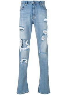 Diesel deep zip distressed jeans