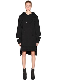 Diesel Destroyed Cotton Sweatshirt Hoodie Dress