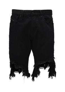Diesel Destroyed D-krasy Cotton Denim Shorts
