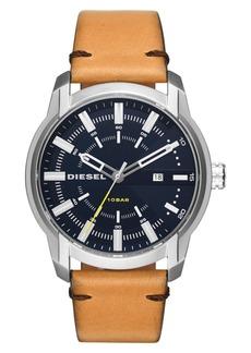DIESEL® Armbar Leather Strap Watch, 45mm x 50mm
