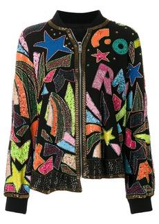 Diesel bead- and sequin-embellished bomber jacket - Black