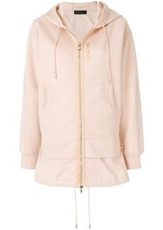 Diesel Black Gold longline layered look zip-front hoodie - Nude &