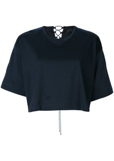 Diesel Black Gold woven tie back cropped T-shirt - Blue