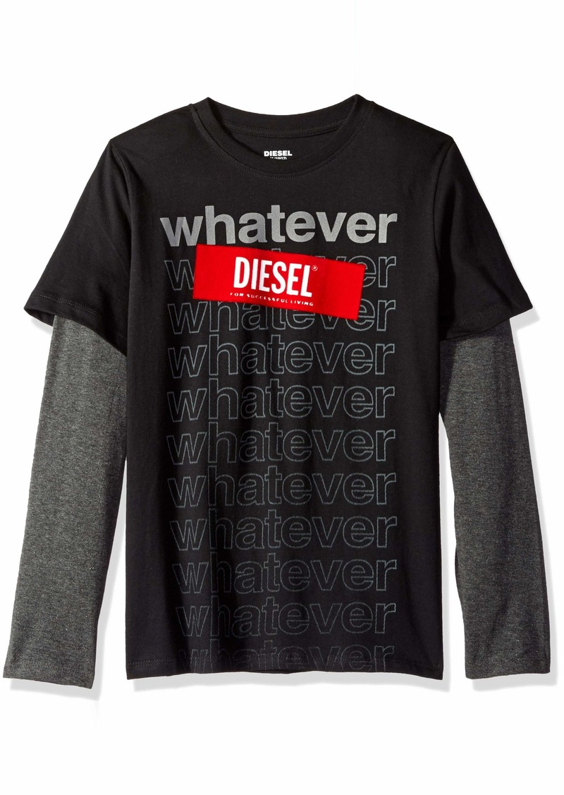 Diesel Boys' Big Long Sleeve T-Shirt black S