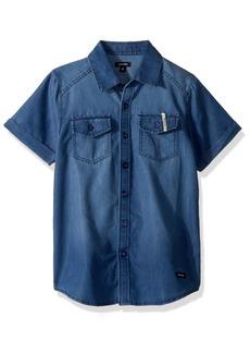Diesel Boys' Big Short Sleeve Fancy Sport Shirt Light Indigo JEEH 18/20
