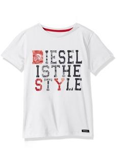 Diesel Boys' Little Short Sleeve Printed Crew Neck T-Shirt White JEDF