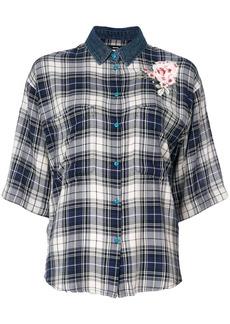 Diesel check flower appliqué shirt - Blue