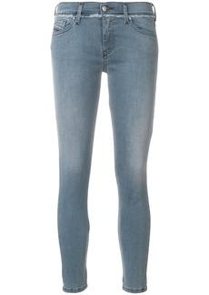 Diesel cropped frayed-trim skinny jeans - Blue