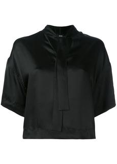 Diesel cropped neck-tie blouse - Black