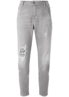 Diesel distressed cropped tapered jeans - Grey