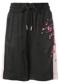 Diesel embroidered blossom track shorts - Black
