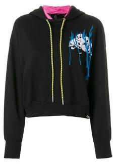 Diesel embroidered cropped hoodie - Black