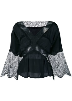 Diesel flared lace panel blouse - Black