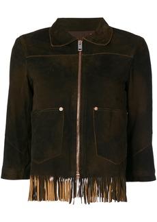 Diesel fringed crop sleeve jacket - Brown
