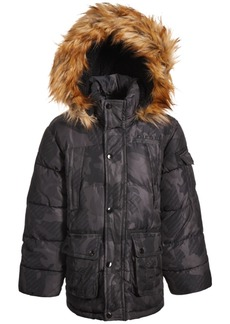Diesel Little Boys Bomber Puffer with Faux-Fur Trim
