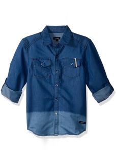 Diesel Boys' Little Long Sleeve Fancy Sport Shirt Light Indigo JEBA