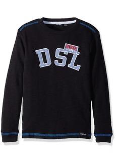 Diesel Boys' Little Long Sleeve Printed Crew Neck T-Shirt Black JEAH