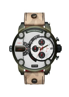 Diesel Little Daddy Stainless Steel Leather-Strap Watch