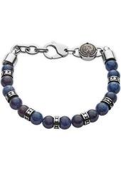Diesel Men's Beads Stainless Steel and African Blue Stone Beaded Bracelet
