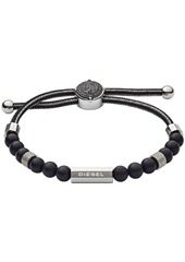 Diesel Men's Brave Armor Stainless Steel and Agate Beaded Bracelet
