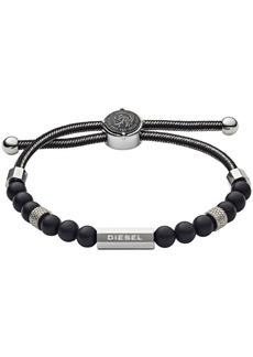 Diesel Men's Brave Armor Stainless Steel and Agate Beaded Bracelet