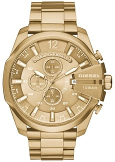 Diesel Men's Chronograph Mega Chief Gold-Tone Stainless Steel Bracelet Watch 59x51mm DZ4360