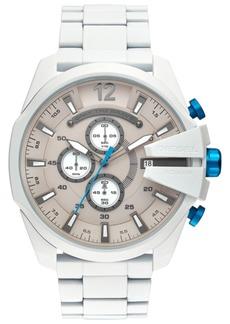 Diesel Men's Chronograph Mega Chief White Stainless Steel Bracelet Watch 51mm