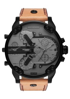 Diesel Men's Chronograph Mr. Daddy 2.0 Brown Leather Strap Watch 57mm