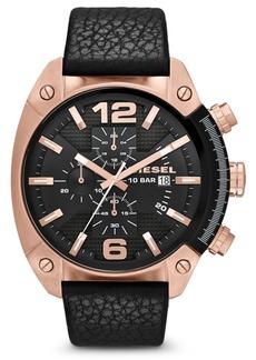 Diesel Men's Chronograph Overflow Black Leather Strap Watch 54x49mm