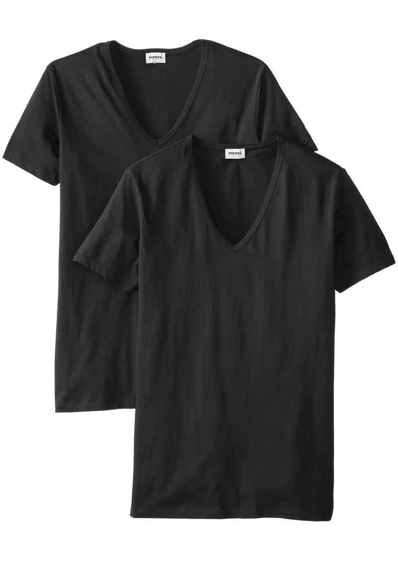 Diesel Men's Dave 2-Pack Cotton Deep V-Neck T-Shirt