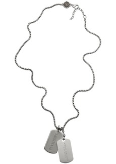 Diesel Men's Engraved Stainless Steel and Concrete Double Dog Tag Necklace