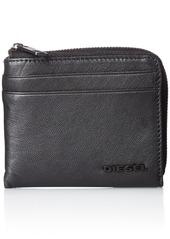 Diesel Men's Fresh Starter Pass-mee Leather Wallet With Zipper black/blazing yellow
