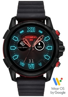 Diesel Men's Full Guard 2.5 Black Silicone Strap Touchscreen Smart Watch 48mm, Powered by Wear Os by Google