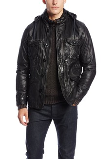 Diesel Men's L-Dai Leather Jackets  Charcoal/Grey