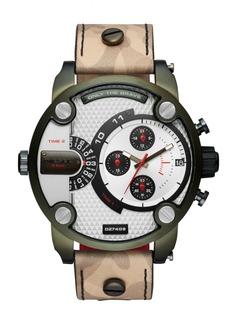 Diesel Men's Little Daddy Camo Leather Strap Watch 52mm