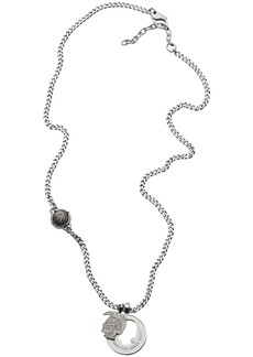 Diesel Men's Mohican Head Stainless Steel Double Pendant Necklace