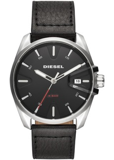 Diesel Men's MS9 Black Leather Strap Watch 44mm