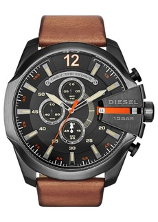 Diesel Men's Only The Brave Brown Leather Strap Watch 51x59mm