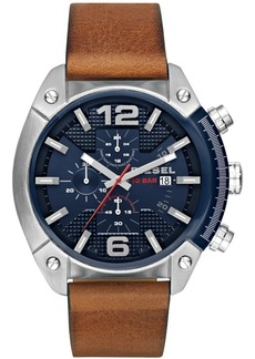 Diesel Mens Overflow Chronograph Brown Leather Watch